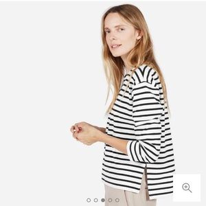 Everlane Boxy Striped tee, Small, Black + white